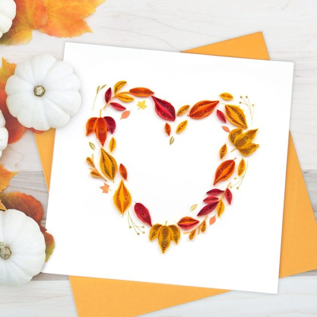 Fall Foliage Heart Quilling Card styled 1