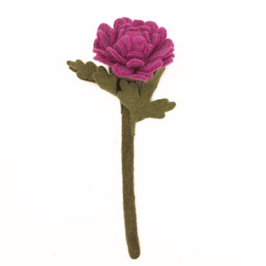 felt chrysanthemum plum