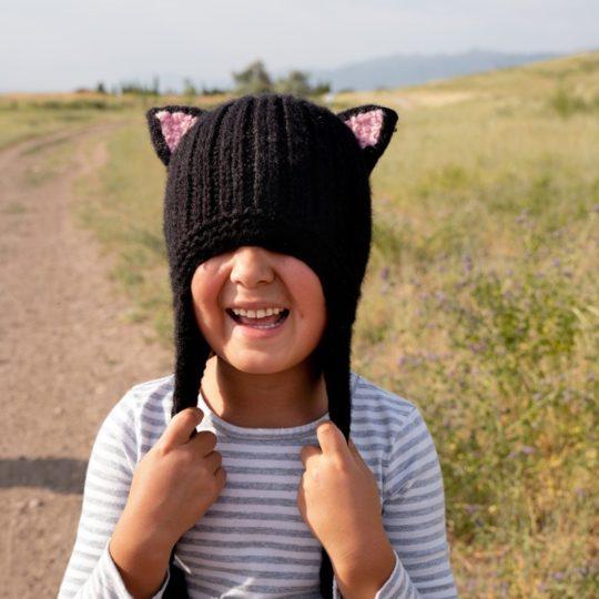 kids animal hat black cat model