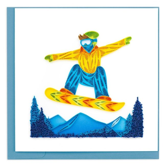 snowboarder quilling card